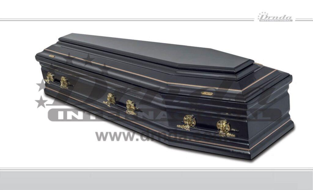 SANDUK za sahrane ŠESTOUGAONI CRNI